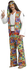 Hippie Adult Man Costume Headband vest shirt belt & pants Flower Power  up to 48
