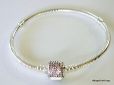 AUTHENTIC PANDORA SIGNATURE CLASP BRACELET #590723CZS FANCY PINK 19CM  BOX INCL