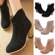 Women Thick heel Short Knight Boots Nubuck leather Chunky Fall Ankle Boot Shoes