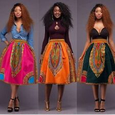 African Women Ladies Dashiki Hippie High Waist Skater Flared Pleated Skirt Dress