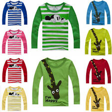 Baby Kids Boys T-shirt Cute Cartoon Cotton Tops Round Collar Long Sleeve T Shirt