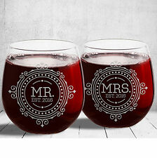 NEW! Beautiful Stemless HIS & HERS Red Wine Glasses! Libbey Wedding Wine Glasses
