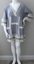 Velzera Boho Crochet Lace Ruffle Empire Waist Tunic Dress Plus 1XL 2XL 3XL New!