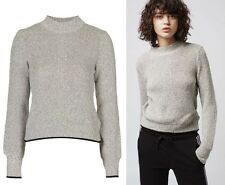 TOPSHOP SANDY GREY BLOUSON SLEEVE CROPPED JUMPER  KNITWEAR SIZE 8-10-12-14-16