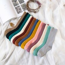 13 Colors Trendy Retro Warm Women High Tube Socks Double Needle Socks Hosiery