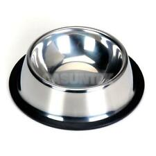 Stainless Steel Feeding Food Water Dish Bowl w/ Rubber Ring for Dog Cat 5 Sizes