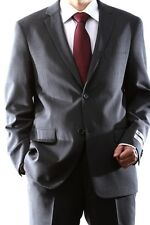 MENS 2 BUTTON SUPER 140S WOOL MAX SOLID GRAY SLIM FIT SUIT, 40712H-40706-GRE