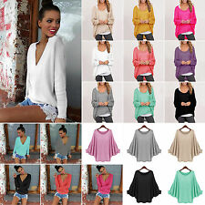 Women Ladies Long Sleeve Pullover Loose Baggy Tops Jumper Blouse T-shirt Sweater