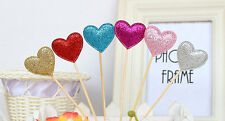 Star Crown Heart Cake Toppers Party Birthday Wedding Cupcake Decorations 6pcs