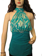 Solar womens teal & gold duo fabric halter neck tie sleeveless top