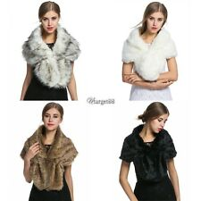 High-grade Elegant Bridal Wedding Faux Fur Long Shawl Stole Wrap Shrug UTAR