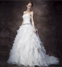 New White/ivory Ball Gown Organza Ruffles Wedding Bridal Dresses Stock Size 6-16