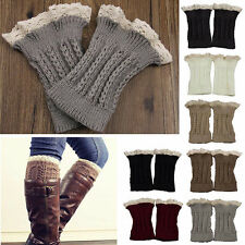 Fashion Warm Womens Crochet Knit Lace Trim Leg Warmers Cuffs Toppers Boot Socks