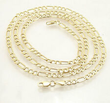 3.8mm Semi-Solid Lite Royal Figaro Chain Necklace Real 10K Yellow Gold