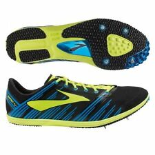 MENS BROOKS WIRE 4 BLACK BLUE FLURO YELLOW RUNNERS SHOES TRACK RUNNING SPIKES