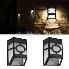 In/Outdoor Solar LED Wall Mount Home Garden Light Landscape Pathway Lamp-YLW/WHT