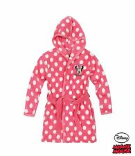 Disney Minnie Mouse Girls Dressing Gown / Bathrobe With Hood, Sizes 4-10 Years