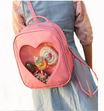 New Women Candy Clear Heart backpacks School Backpack Girls Leather Shoulder Bag