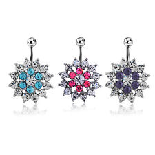 Crystal Rhinestone Alloy Flower Navel Belly Button Ring Dancer Body Jewelry