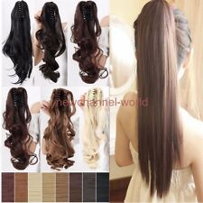 Hot real Claw On Ponytail Clip In remy Hair Extension Straight Curly synthetic