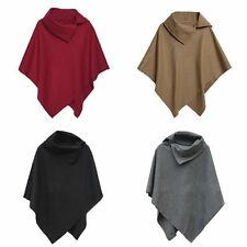 Lady Winter Batwing Poncho Cardigan Coat Jacket Loose Irregular Cloak Cape Parka