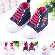 Infant Toddler Baby Girl Boy Soft Sole Crib Shoes Flower Crochet Sneakers Bootie