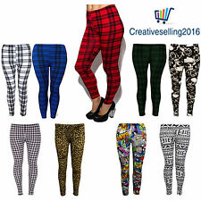 New Ladies Womens Printed Stretchy Skinny Full Length Trouser Leggings Size 8-26