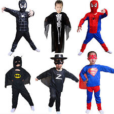 Boys Girls Superhero Fancy Dress Costume Batman Spider-Man Superman Cosplay Sets