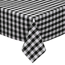 Black & White Cotton Rich Checkered Kitchen Tablecloth: Gingham/Plaid Design