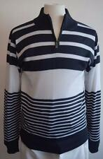 New Akademiks Half Zip Pullover Mock Striped Blue White Striped Sweater M - 2XL