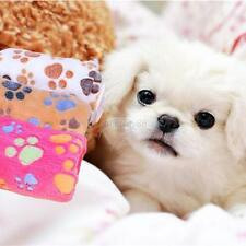 Warm Puppy Pet Dog Cat Fleece Cozy Blanket Bed Cushion Mat Small Large Paw Print
