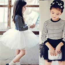 Baby Girls Kids Long Sleeve Skirt Striped Princess Pageant Party Tutu Dress 2-7Y