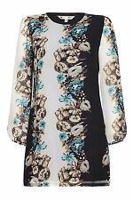 Yumi Womens Black Long Sleeve Floral Tunic Dress Knee Length Long Sleeve Ladies