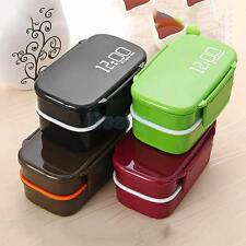 Double Layer Microwave Bento Lunch Box Food Container Box for School 4 Colors