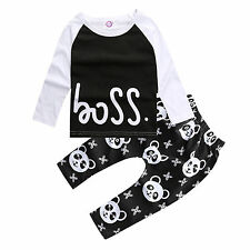 Newborn Toddler Girl Boy Long Sleeve 2Pcs T-shirt Tops Pants Outfit Set Clothes
