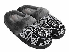 Oakland Raiders Woman's Gray Faux Fur Black Silver Aztec Slide Slippers Shoes