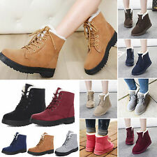New Women Winter Warm Casual Faux Suede Fur Lace-up Ankle Boots Snow Boots Shoes