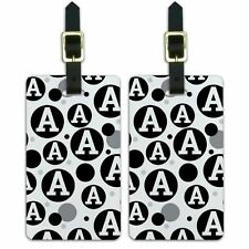 Luggage Suitcase Carry-On ID Tags Set of 2 Letter Initial Black White