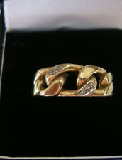 Superb Gents Heavy Vintage 9ct Gold & Diamond Curb Link Ring Size T1/2 7.2g