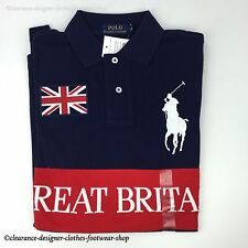 RALPH LAUREN POLO SHIRT BIG PONY POLO NAVY GREAT BRITAIN TOP T-SHIRT RRP £115