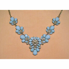 Blue Silver Statement Necklace Bib Gem Spring Fashion Jewellery New Gift UK