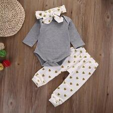 3pc Infant Baby Girl Kid Clothes shirt Romper+Pants Leggings+Headband Outfit Set