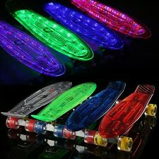 22''Clear Deck Cruiser Complete Skateboard Light Wheel Chargable Upgraded Hot#
