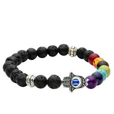 Lava Rock Gemstone Beaded Chakra Buddha Hamsa Stretch Bracelets
