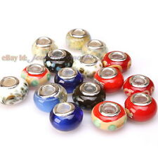 Wholesale Flower Print Colorful Lampwork Spacer Beads Fit European Bracelets