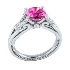 1.20 ct Pink Sapphire & White Sapphire Solid Gold Wedding Engagement Ring
