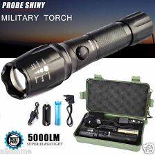 Super Bright 5000LM CREE T6 LED Torch Zoomable Military Flashlight Lamp Set US