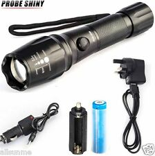 5000LM CREE T6 LED Torch Zoomable Military Flashlight Lamp FREE 18650 + Charger