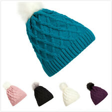 Winter Women 's Diamond - Shaped Woven Network Of A Wool Ball Knit Hats