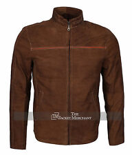 Mens Fashion Real Suede Leather Brown Stylish Biker Jacket - All Sizes Available